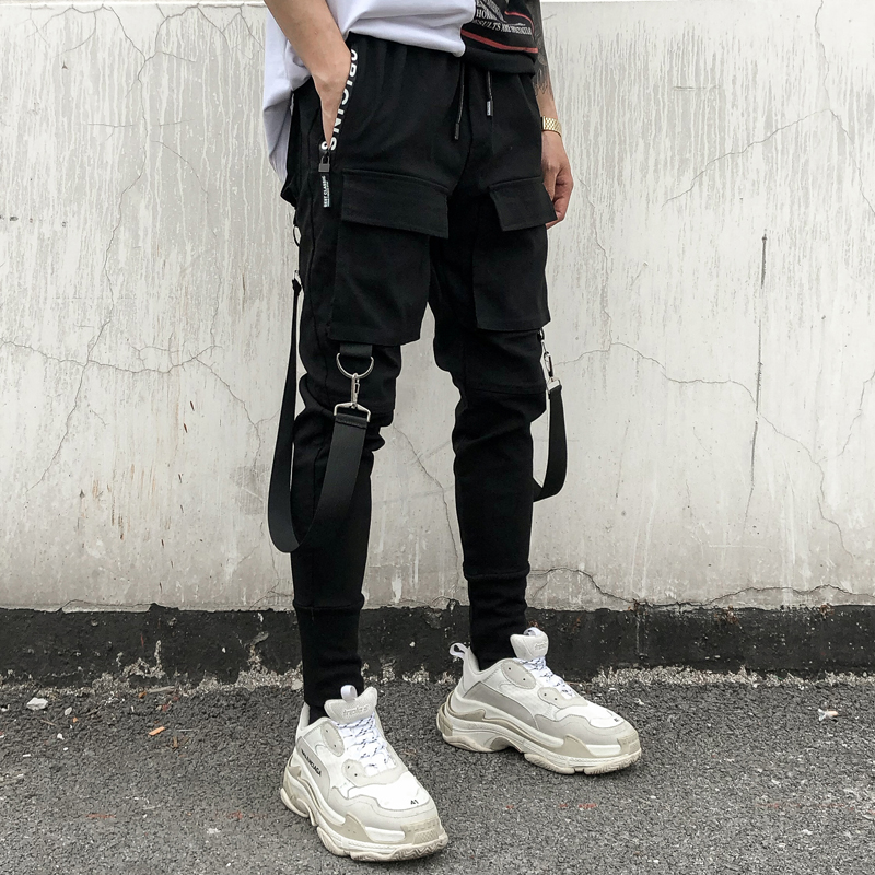 Streetwear Black Harem Pants Men Elastic Waist Punk Pants With Ribbons Casual Slim Jogger Pants Men Hip Hop Trousers