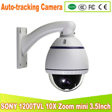 YUNSYE mini high outdoor Auto -tracking Speed Dome Auto 1/3 sony CCD 1200tvl 10X speed dome camera Auto -tracking PTZ camera