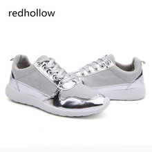 2018 Women Casual Shoes Fashion Comfortable Outdoor Walking Breathable Mesh Flat Gold Sliver Black