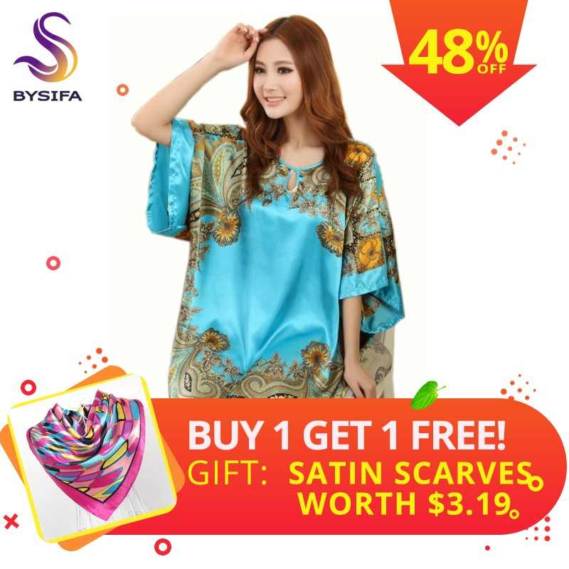 ef49d31da2b Summer Sexy Silk Nightgown Sleepshirts Women Short-sleeves Plus Size  Sleepwear Lounge Casual Satin Silky