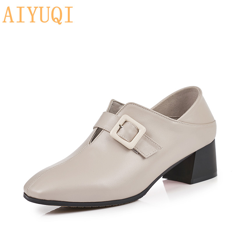 AIYUQI Women's dress shoes 2019 spring new genuine leather women's fashion shoes, large size 41 42 square head shoes women