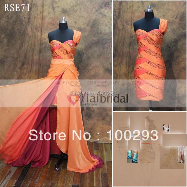 RSE71 One Shoulder Color Block Evening Dresses Removable Skirt