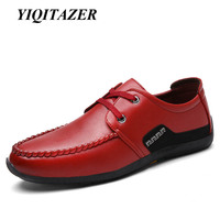 YIQITAZER 2017 New Autumn Fashion Casual Men S Shoes Leather Breathable Lace Up Man Shoe Red