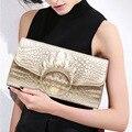 Luxury Crocodile Pattern Cowhide Leather Women Hand Bag High-grade Diamond Ring Shoulder Crossbody Bag Evening Clutch Bags