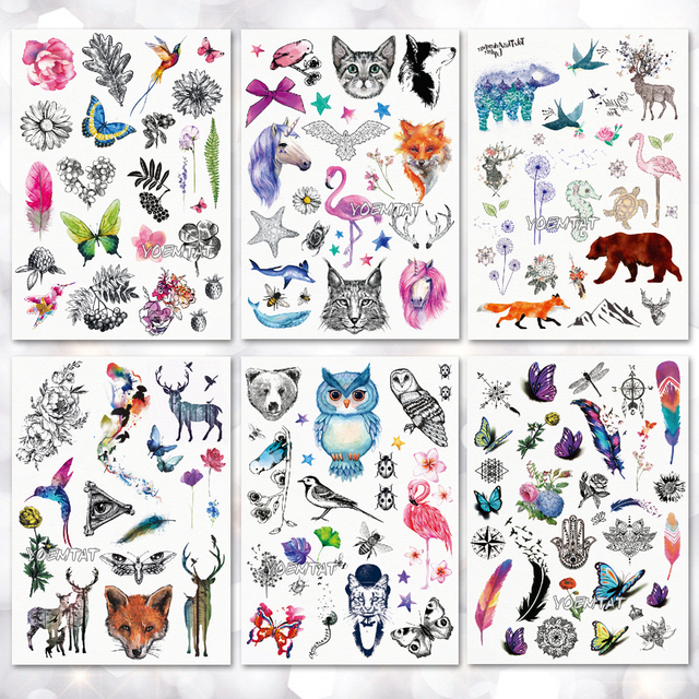 1ce063871 Cute Little Animal Temporary Tattoo Stickers Waterproof Women Fake Hand  Animal Tattoos Adult Men Body Art