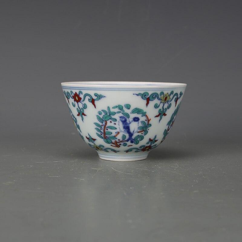 Coupe antique en porcelaine qingdynastie, coupe d'oiseaux et de fleurs de couleur, artisanat peint à la main, décoration de la maison, collection et parure