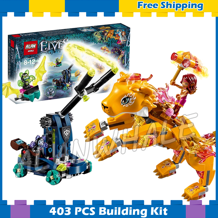 403pcs Elves Azari & the Fire Lion Capture 30016 Model Building Blocks Princess Fairy Assemble Gifts sets Compatible with Lego