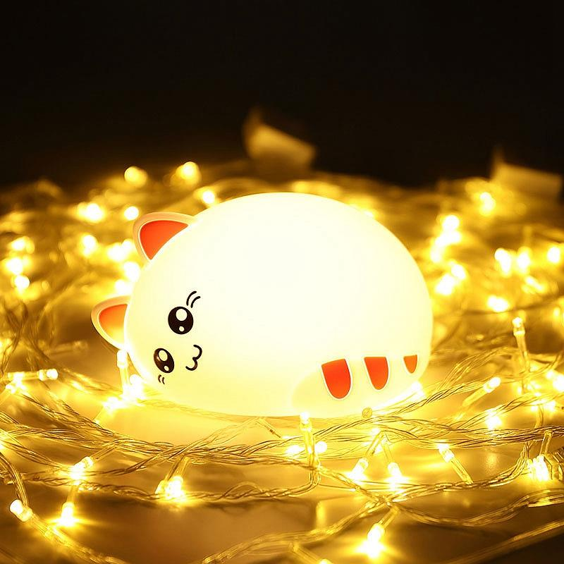 NEWKBO Cute Cat Animal Night Light USB Charging Silicone Soft Cartoon Children's Bedroom Baby Light 7 Colours-changing Lamp