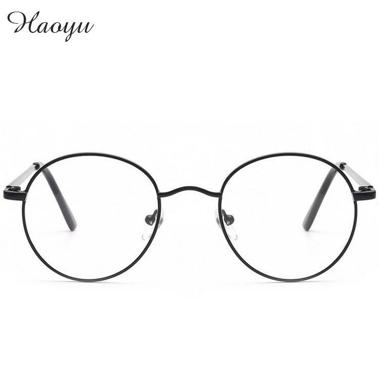 90ee828bd68a7 Haoyu De Metal Retro Quadro Óculos Espelho Plano Óculos de Olho Redondo  Armacao De Oculos de Grau óculos de quadros Para as mulheres Parágrafo  Mulher tg1630