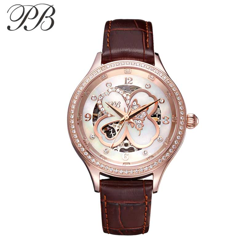 PB Luxury Women Watch Genuine Leather Strap Mechanical Four-leaf Clover Dial Ladies Quartz Watch Reloj Mujer Montre FemmePB Luxury Women Watch Genuine Leather Strap Mechanical Four-leaf Clover Dial Ladies Quartz Watch Reloj Mujer Montre Femme