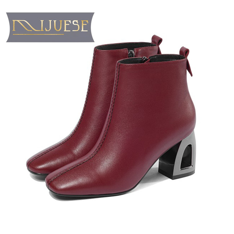 MLJUESE 2019 women ankle boots soft  cow leather  zippers wine red color high heels boots winter short plush boots size 34-41MLJUESE 2019 women ankle boots soft  cow leather  zippers wine red color high heels boots winter short plush boots size 34-41