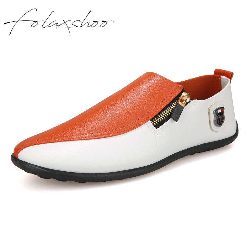 Folaxshoo Zip Men Loafers PU Leather Breathable Casual