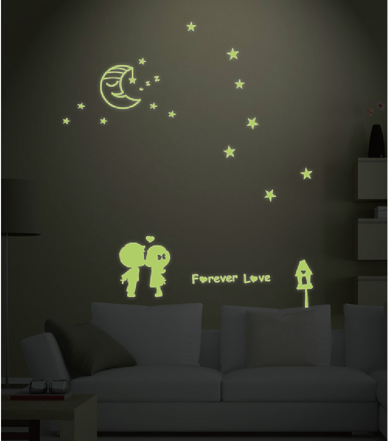 Romantic Meteor Shower Luminous Wall Stickers Glowing in Dark Home Decor Lover Star Circle Sticker Kids Rooms Ceiling Decoration