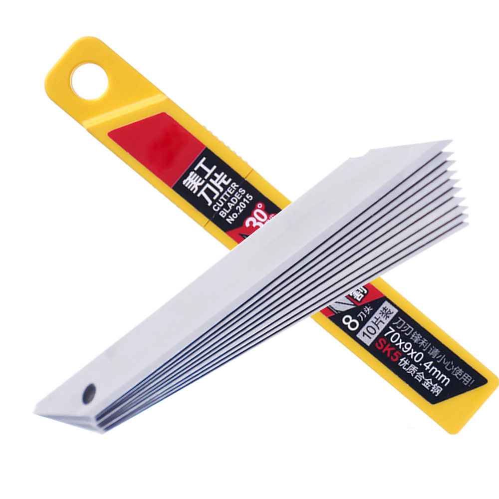 10 Pcs Office Supplies 30 Degree Utility Knife Refill Blades Alloy Steel Replaceable Blades Cutting Blades For Utility Knife