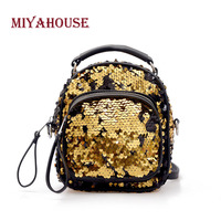 Miyahouse England Style Backpack For Women Mini PU Leather Fashion Rucksack Female Bling Sequines Backpack For Female