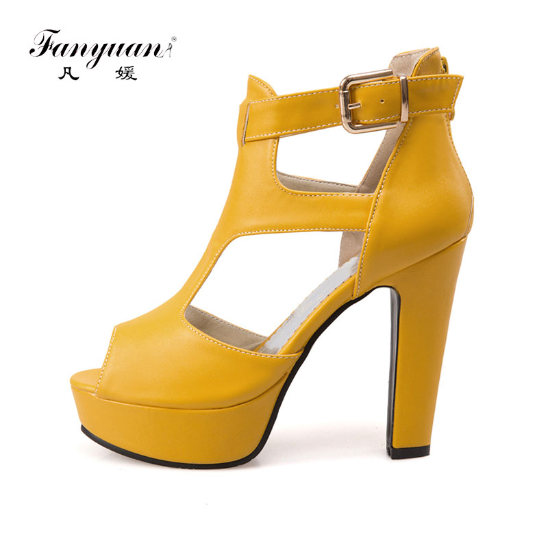 Fanyuan Elegant Gladiator Sandals Women Shoes Summer Back Zip Platform Shoes Lady Buckle Party Open Toe Sandals Plus SizeFanyuan Elegant Gladiator Sandals Women Shoes Summer Back Zip Platform Shoes Lady Buckle Party Open Toe Sandals Plus Size