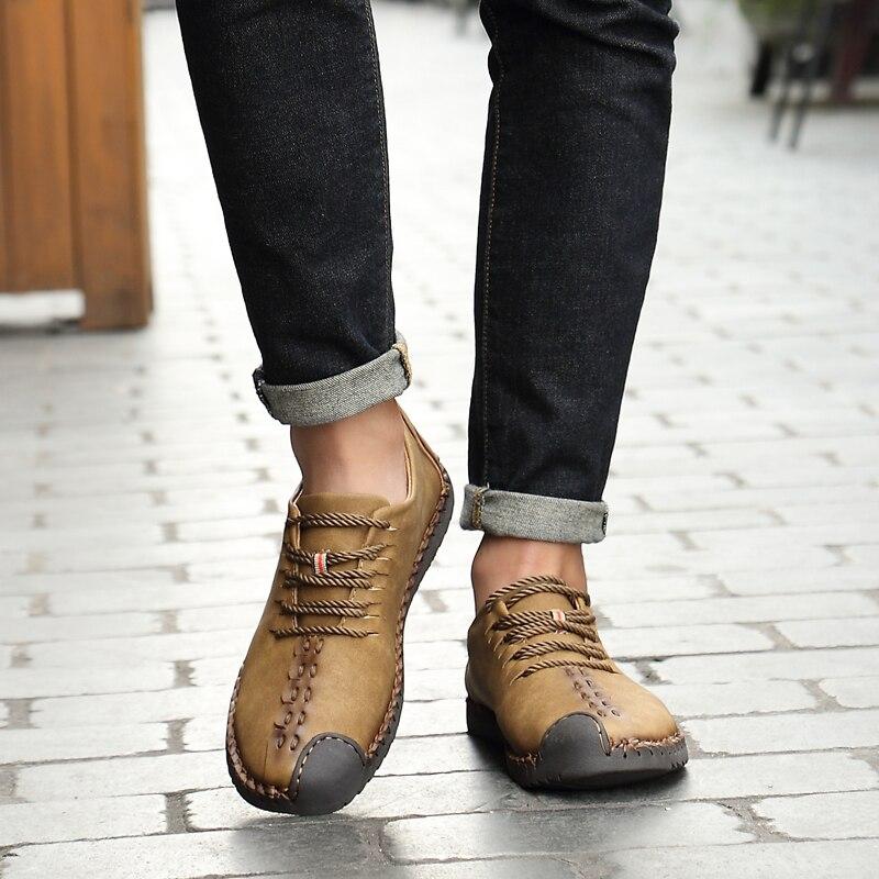 2018 on Homens Redondo Moda Confortáveis Estações Shoes Negócios Apartamentos Quatro Dedo Sapatos Pé De khaki Plataforma brown Casuais Lace Condução Slip Black Do up RxqwraR0
