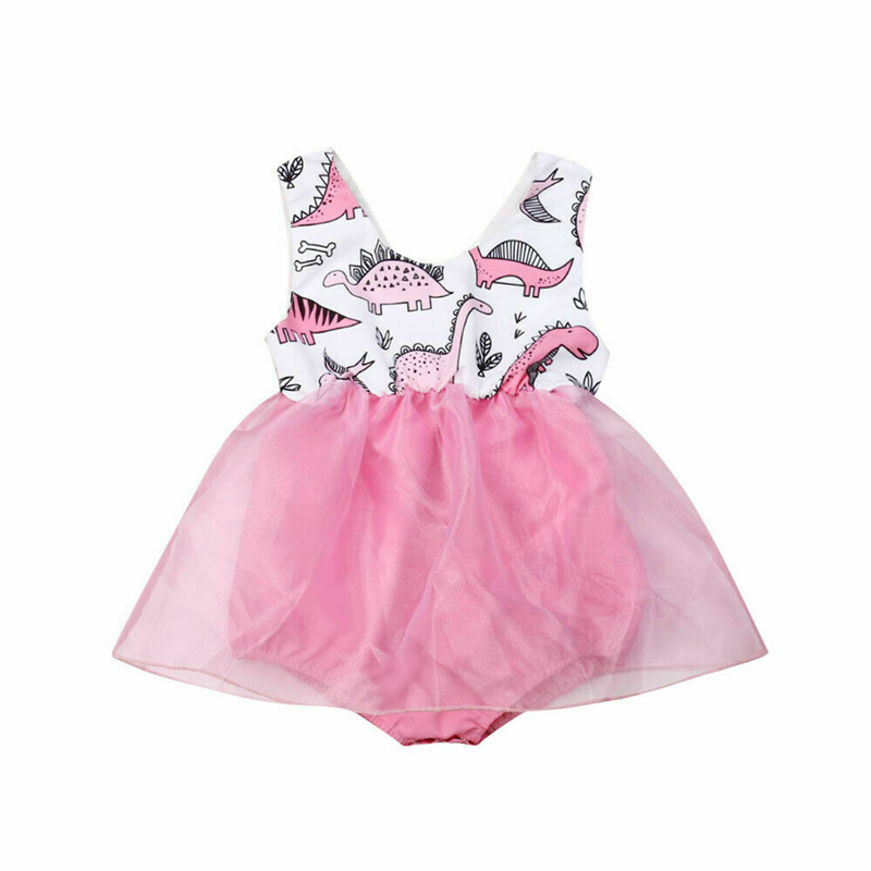 2019 Summer Toddler Infant Newborn Baby Girl Cute Sleeveless Clothes Cute Dinosaur   Romper   Tulle Dress Outfits