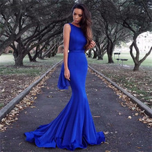 Cinderella Royal Blue Backless Sleeveless Floor Length Mermaid Satin Evening Dresses Bow Accessory Prom Gowns