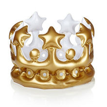 Gold Party Kids Princess Crown PVC Balloon Birthday Hat Children Inflatable Caps Glitter Birthday Headband Decorations Favors(China)