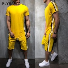 цена на Men Sport Running Suits Jogging Short Sleeve T Shirts+Knee High Pants Tracksuits Jersey Summer Fitness Sportswear 2PCS Gym Sets