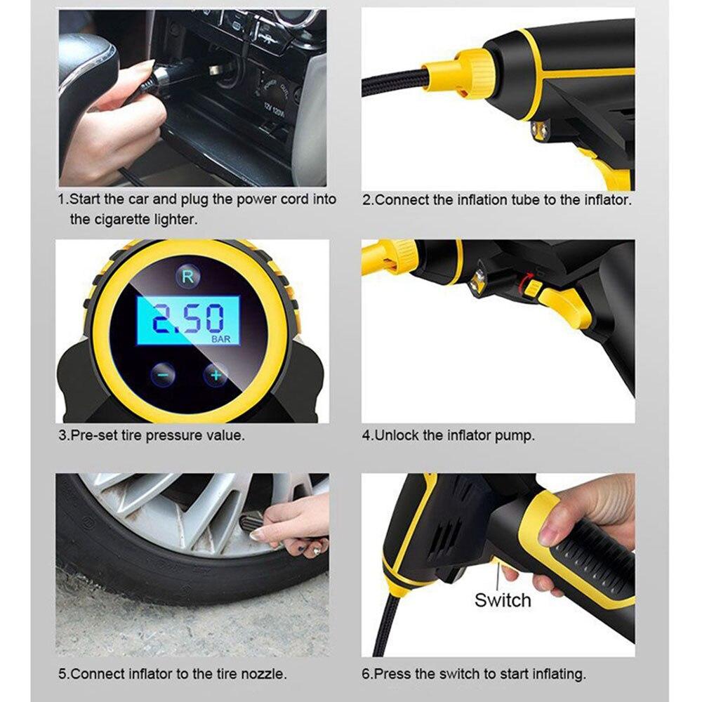 Автоматический воздушный насос автомобильный воздушный насос Смарт Надувное насос электрический насос Пневматический светодиодный свет портативный цифровой Портативный 12 V