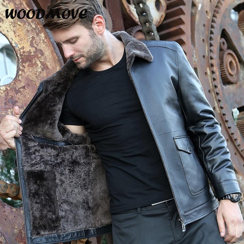 Mens Genuine Leather Jacket Black Real Lambskin Motorcycle Leather Jackets Mens Genuine Shearling Sheepskin Leather Bomber Coat