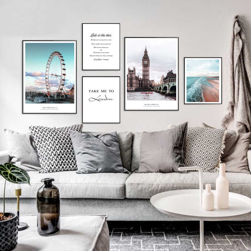 Nordic London Big Ben Canvas Painting Text Rumors Ferris Wheel Poster Blue Bay Wall Landscape Pictures Living Room Decoration