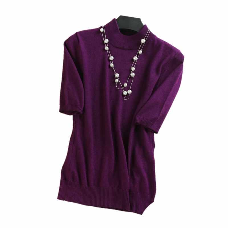 2019 Высококачественная Женская кашемировая водолазка с коротким рукавом Трикотажный пуловер футболка из шерсти кашемир брендовый свитер женский джемпер