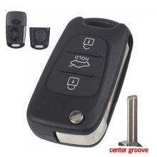 Jingyuqin 3 Buttons Flip Folding Remote Key Case Shell for HYUNDAI I30 IX35 For Kia K2 K5 Car Keys Blank Cover Car-styling