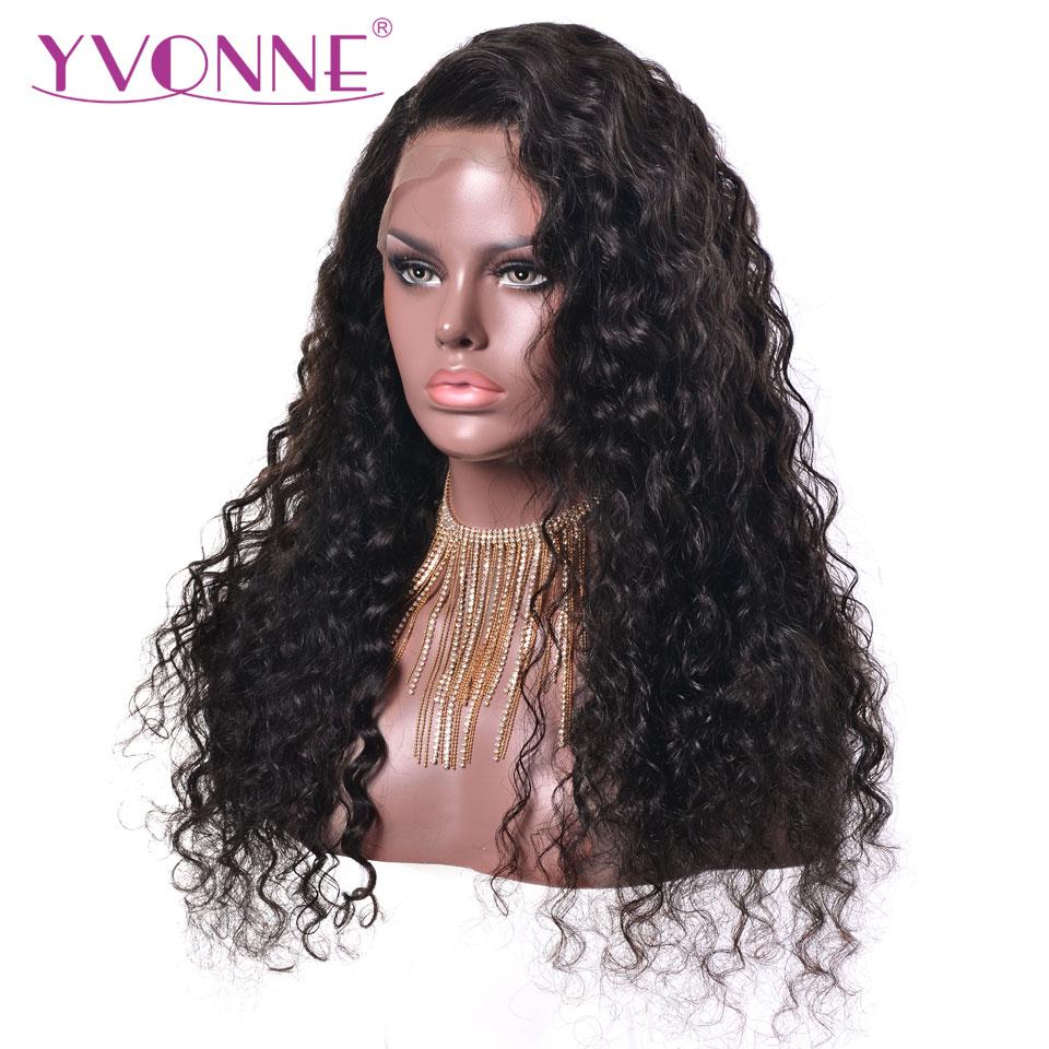 YVONNE Vatten Wave Parykar Naturliga Färg Brasilianska Virgin Lace - Mänskligt hår (svart) - Foto 1