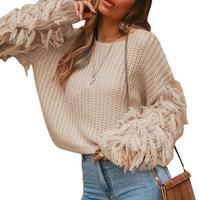 None Women Tassels Cuffs Fringe Round Collar Thick Needle Knitting Solid Color Sweater Tassels Fringe Cuffs fine details 2019