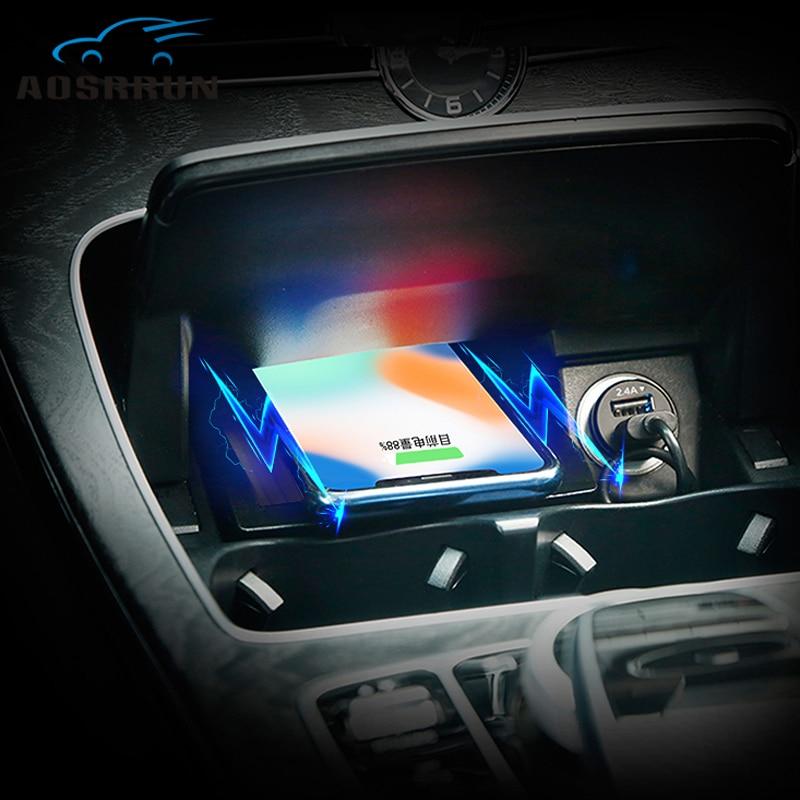 Panneau de chargement de téléphone sans fil QI spécial à bord accessoires de voiture pour Mercedes Benz c-class GLC W205 2014 2015 2016 2017 2018