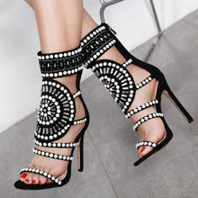 Summer Women Sandals Flock pearl ZIP Thin Heels 10.5CM High Heels Pumps Lady Sandal woman Shoes цены