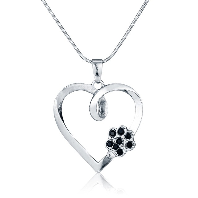 Silver animal pet memorial necklace cat dog paw print heart shape silver animal pet memorial necklace cat dog paw print heart shape pendant necklace black crystal rhinestone aloadofball Images
