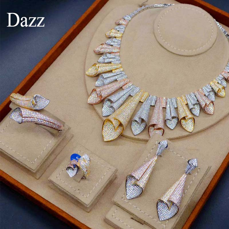 Dazz Luxury Star Style 3 Color Palm Leaf Full Zircon Wedding Jewelry Set Bride Women s