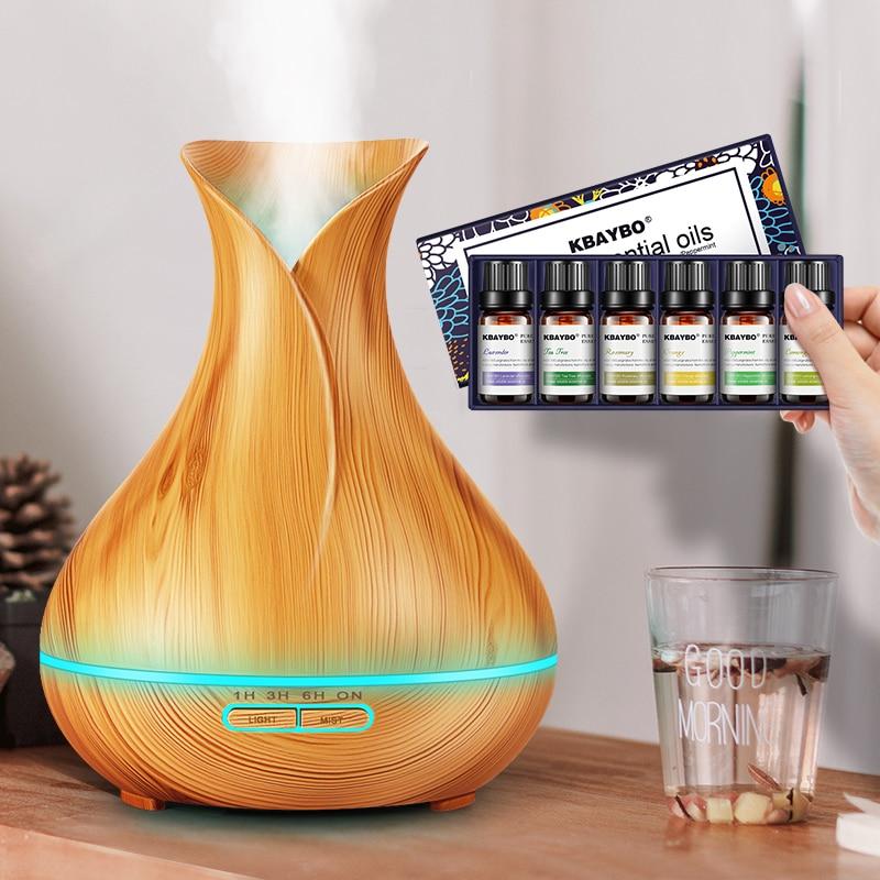 400 ml électrique Aroma Huile Essentielle Diffuseur À Ultrasons Humidificateur D'air Bois Grain machine à vapeur Froide LED Night Light pour La Maison bureau
