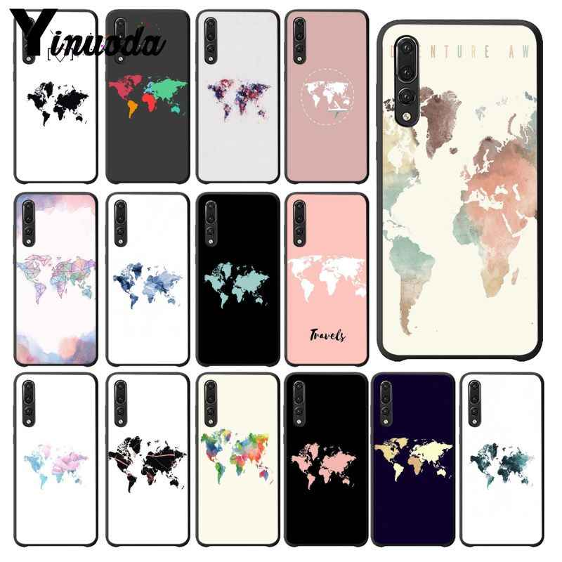 Yinuoda Travel in the world map Plane plans Black TPU Soft Phone Cover for Haiwei P10 plus Honor 9 10 View 10 Mate 9 Coque Shell