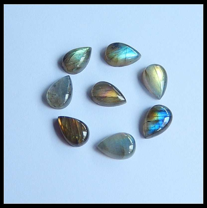 Sales 8Pcs Natural Stone Flashy Labradorite Teardrop Cabochon Set 12x8x3mm 4.5g Beads For DIY Fit Handmade Jewelry Ring Gifts