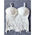 SL23 Mulheres Sexy Lace Crochet Floral Malha Acolchoado Colheita Bustier Corset Tops Bras Camisole Preto Branco Frete Grátis