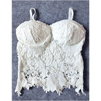 SL23 Sexy Women Lace Crochet Floral Knitted Padded Bustier Crop Corset Tank Tops Bras Camisole Black