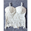 SL23 Sexy Women Lace Crochet Floral Knitted Padded Bustier Crop Corset Tank Tops Bras Camisole Black White Free Shipping