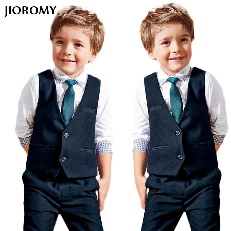 JIOROMY Baby Boys Gentleman Suits 2017 Autumn Style Children T -shirt+ Vest+pants+ Tie Cotton School Clothing Kids Clothes Sets malayu baby kids clothing sets baby boys girls cartoon elephant cotton set autumn children clothes child t shirt pants suit