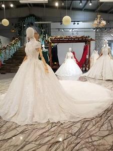 Image 2 - LS335100 칼라 체인 장식 높은 목걸이 캡 슬리브 신부 웨딩 드레스와 흰색 웨딩 드레스처럼 2020 베스트 셀러