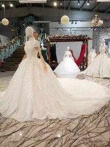 Image 2 - LS335100 kragen kette schmücken wie weiß hochzeit kleider mit hoher halskette kappe hülse braut hochzeit kleider 2020 beste verkäufer