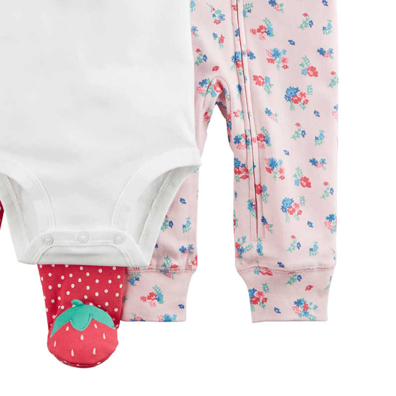 062652756 ... Carters baby girl 3pcs sweet bodysuits floral jumpsuit strawberry foot  pants soft cotton newborn baby clothes ...