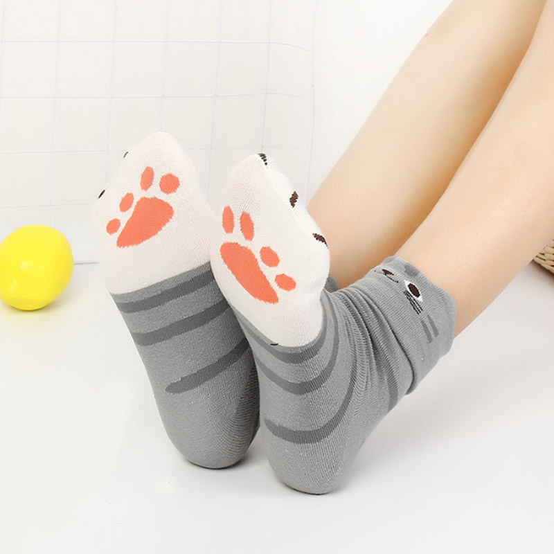 HOT Cartoon Cute Cat Paw Winter Socks Lovely Student 3D Animal Ear Medium Tube Cotton Women Socks