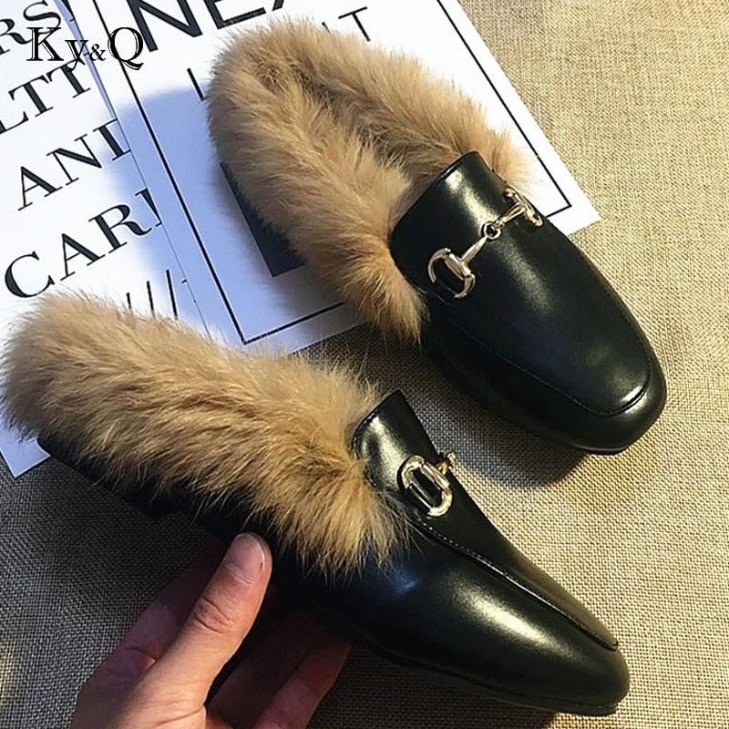 Plat Commerce Nouvelle La Fourrure Cuir Marque Femmes Taille Moitié De Black En Pantoufles Extérieur Jurchen Chaussures Mode Laine 2018 O7CqxwYdY