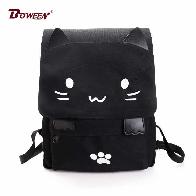 Cute Cartoon Cat school bags for teenagers backpacks canvas women large capacity Embroidery Back Bag SchoolBag student bookbag