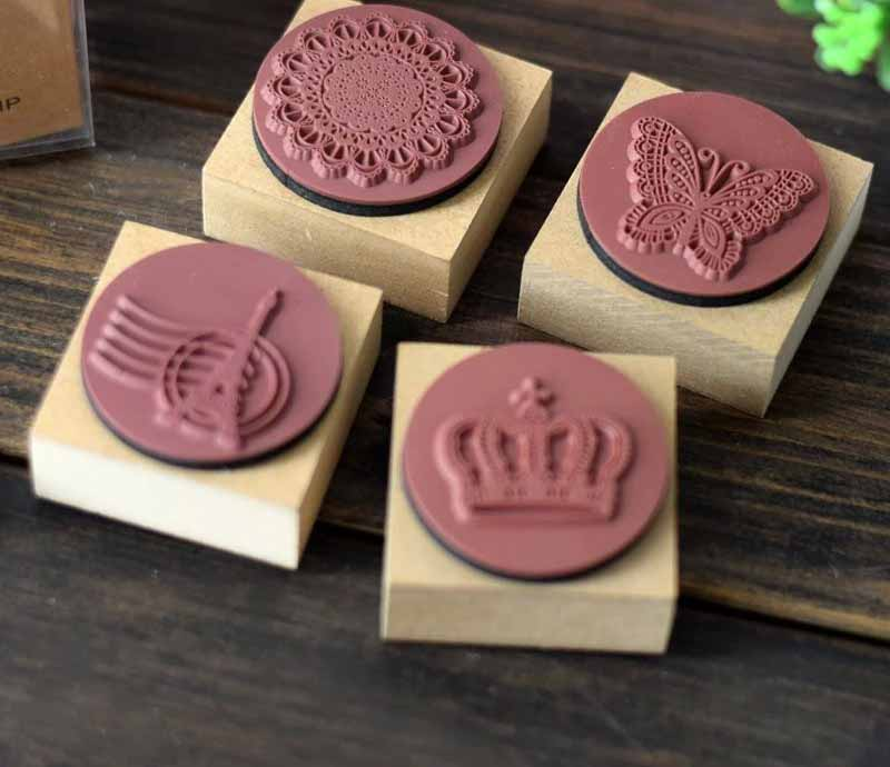 DIY wood Vintage Stamp Cute Ink Stamp Eiffel Tower Crown Lace Stamp Wooden Stamps for Scrapbooking Seal Wax tinta sellos new 220v photosensitive portrait flash stamp machine kit self inking stamping making seal holder film pad no ink